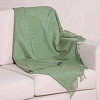 100% baby alpaca throw blanket, 'Avocado Comfort' - Avocado Green 100% Baby Alpaca Wool Fringed Throw Blanket