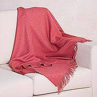 100% baby alpaca throw blanket, 'Claret Comfort' - Claret Red 100% Baby Alpaca Wool Fringed Throw Blanket