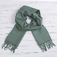 Featured review for 100% baby alpaca scarf, Celadon Embrace