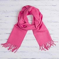 100% baby alpaca scarf, 'Rose Embrace' - 100% Baby Alpaca Rose Pink Scarf