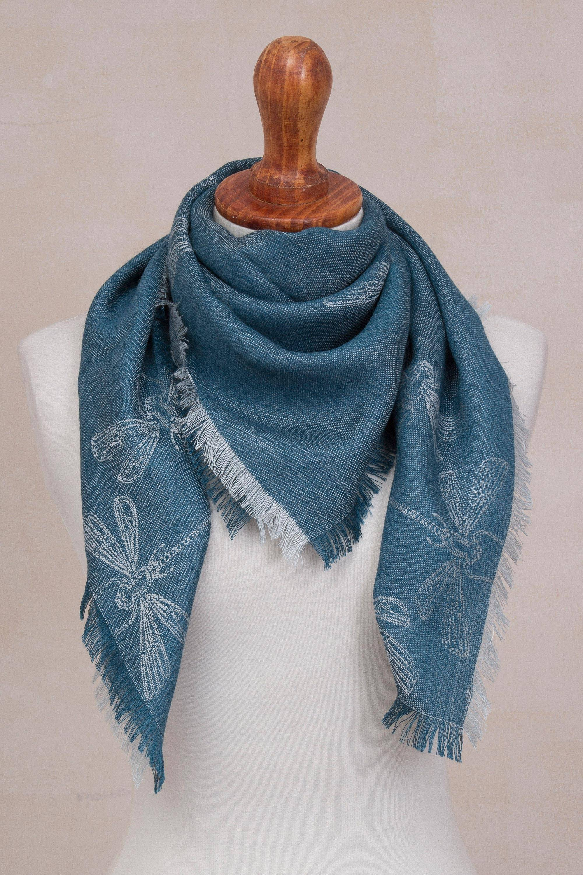 Baby Alpaca and Silk Blend Teal Dragonfly Reversible Scarf, 'Dragonfly in  Teal'
