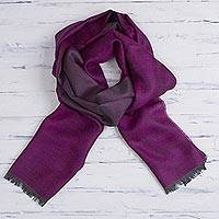 Baby alpaca and silk blend scarf, 'Options in Currant' - Baby Alpaca and Silk Blend Currant and Grey Reversible Scarf
