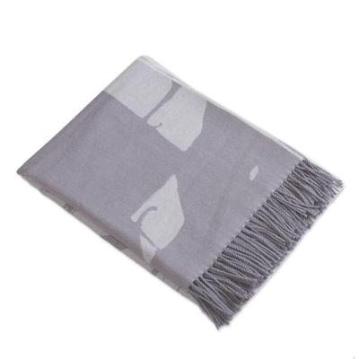 Grey 100% Baby Alpaca Wool Fringed Blanket