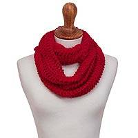Alpaca blend infinity scarf, 'Crimson Patterns' - Hand-Crocheted Alpaca Blend Infinity Scarf in Crimson