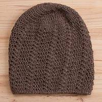 Alpaca hat, 'Chestnut Elegance' - Hand-Crocheted Alpaca Hat in Chestnut from Peru
