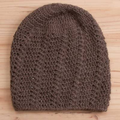 100% alpaca hat, 'Chestnut Elegance' - Hand-Crocheted 100% Alpaca Hat in Chestnut from Peru