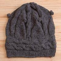 Alpaca hat, 'Slate Braids' - Hand-Crocheted Alpaca Hat in Slate from Peru