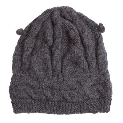 Hand-Crocheted 100% Alpaca Hat in Slate from Peru