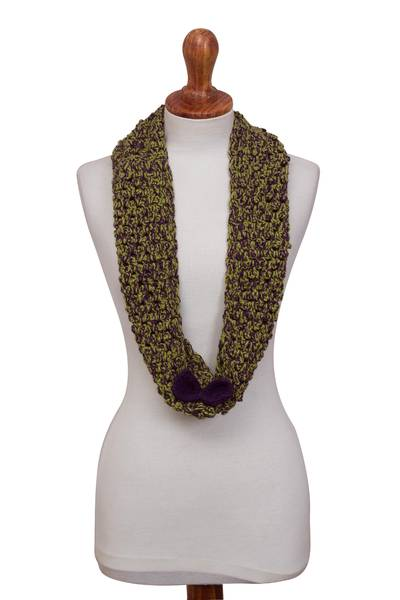 Alpaca blend infinity scarf, 'Autumn Forest' - Hand-Crocheted Alpaca Blend Infinity Scarf from Peru