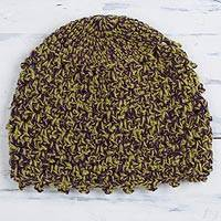 Alpaca blend hat, 'Autumn Forest' - Hand-Crocheted Alpaca Blend Hat from Peru