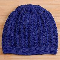 Cotton hat, 'Royal Pattern' - Hand-Crocheted Cotton Hat in Royal Blue from Peru