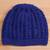 Cotton hat, 'Royal Pattern' - Hand-Crocheted Cotton Hat in Royal Blue from Peru thumbail