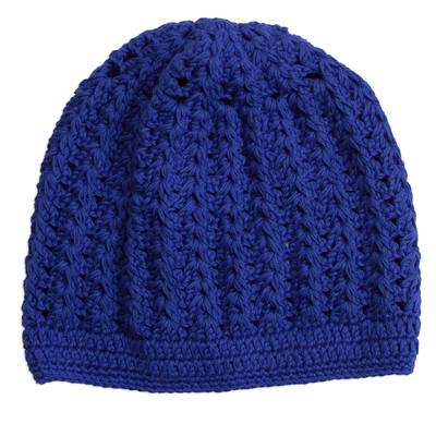 Hand-Crocheted Cotton Hat in Royal Blue from Peru