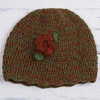 Alpaca blend hat, 'Floral Warmth' - Alpaca Blend Hat in Avocado and Burnt Orange from Peru