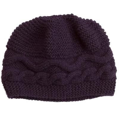 Hand-Knit Alpaca Blend Hat in Aubergine from Peru