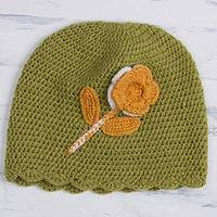 Alpaca blend hat, 'Sweet Blossom' - Floral Crocheted Alpaca Blend Hat in Chartreuse from Peru
