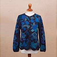 100% alpaca cardigan, 'Sea Blooms' - 100% Alpaca Blue Cardigan Sweater with Floral Motif