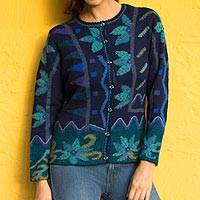 100% alpaca cardigan, 'Valley Bloom' - 100% Alpaca Navy Cardigan Sweater with Aqua Floral Motif