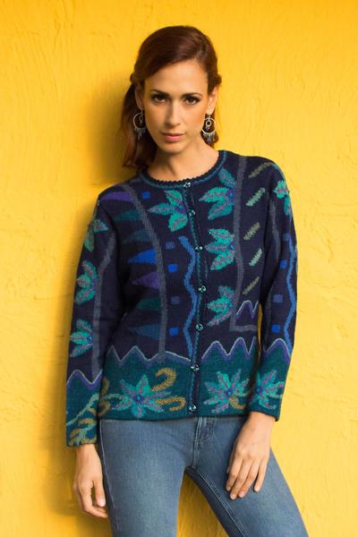 100% alpaca cardigan, 'Valley Bloom' - 100% Alpaca Navy Cardigan Sweater with Aqua Floral Motif