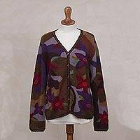 100% alpaca cardigan, 'Blooming Landscape' - 100% Alpaca Multi-Color Floral Motif Cardigan Sweater