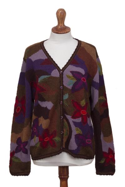 100% alpaca cardigan, 'Blooming Landscape' - 100% Alpaca Multi-Color Floral Motif Cardigan Sweater