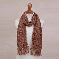 Hand-knit alpaca blend scarf, 'Andean Texture' - Hand-Knit Alpaca Blend Scarf in Tan and Burgundy from Peru