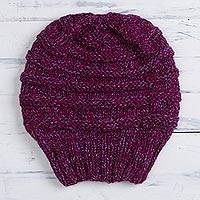 Alpaca blend hat, 'Dreamy Texture in Magenta' - Hand-Knit Alpaca Blend Hat in Magenta from Peru