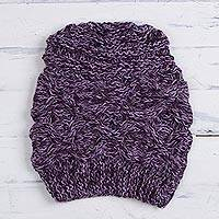 Alpaca blend hat, 'Andean Sweetness in Purple' - Hand-Knit Peruvian Alpaca Blend Hat in Eggplant and Wisteria
