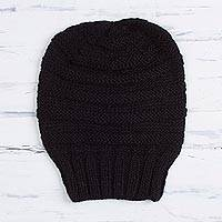 100% alpaca hat, 'Dreamy Texture in Black' - Hand-Knit 100% Alpaca Hat in Black from Peru