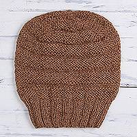 100% alpaca hat, 'Enchanting Tan' - Hand-Knit 100% Alpaca Hat in Tan from Peru
