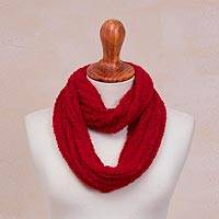 Hand-knit alpaca blend infinity scarf, 'Crimson Spirit' - Hand-Knit Alpaca Blend Infinity Scarf in Crimson from Peru