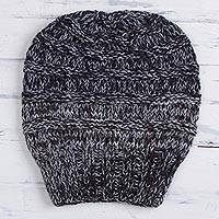 Alpaca blend hat, 'Dreamy Texture in Grey' - Hand-Knit Alpaca Blend Hat in Grey from Peru
