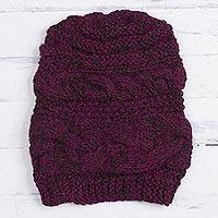 Alpaca blend hat, 'Andean Sweetness in Magenta' - Hand-Knit Alpaca Blend Hat in Espresso and Magenta from Peru