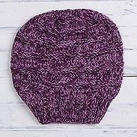 Hand-knit alpaca blend hat, 'Dreamy Texture in Purple' - Hand-Knit Alpaca Blend Hat in Lilac and Eggplant from Peru