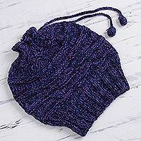 Hand-knit alpaca blend hat, 'Ollantaytambo Warmth' - Hand-Knit Peruvian Alpaca Blend Hat in Royal Blue and Violet