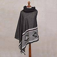 Baby alpaca and silk blend poncho, 'Chic Iconography in Grey' - Grey and White Silk and Baby Alpaca Blend Poncho from Peru