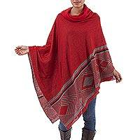 Baby alpaca and silk poncho, 'Chic Iconography in Red' - Peruvian Red and Grey Poncho in a Baby Alpaca and Silk Blend