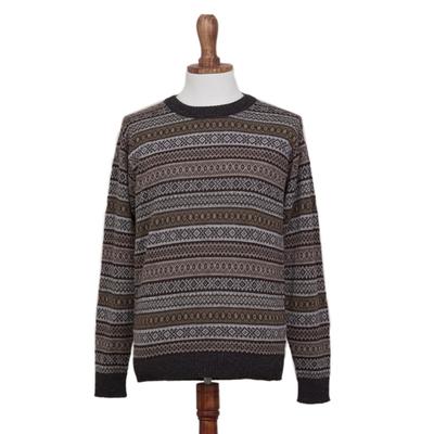 Men's 100% alpaca sweater, 'Granite' - Men's Patterned Grey and Brown 100% Alpaca Pullover Sweater