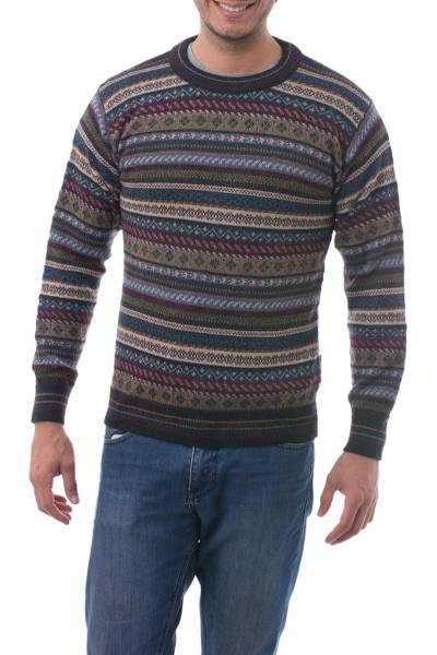 Men's 100% alpaca sweater, 'Professor' - Men's Striped and Patterned 100% Alpaca Pullover Sweater