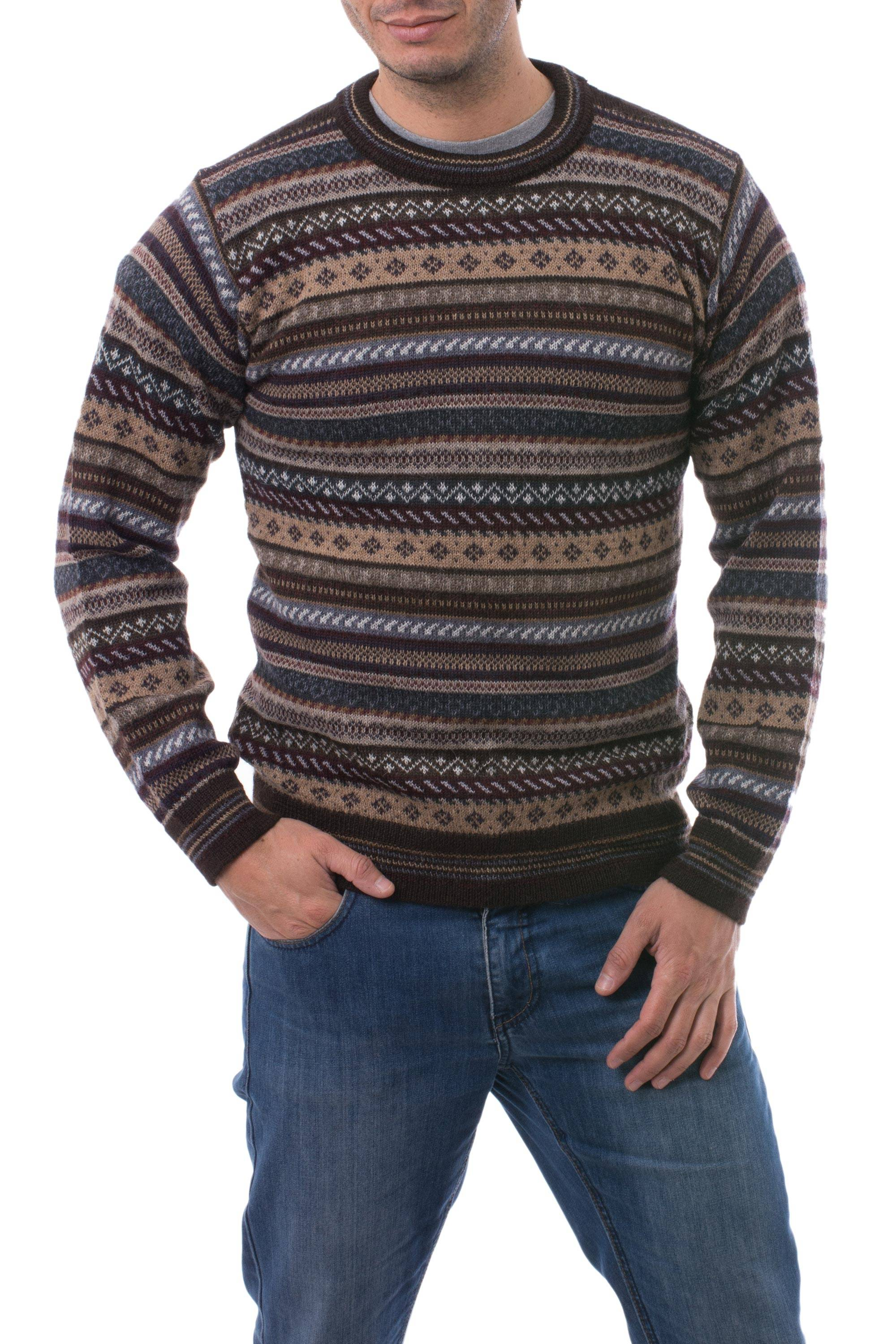 40d78a2c0fc1 Men s Striped and Patterned 100% Alpaca Pullover Sweater - Geology ...