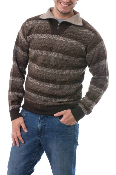 Men's 100% alpaca sweater, 'Seismic' - Men's Brown Striped 100% Alpaca Pullover Sweater