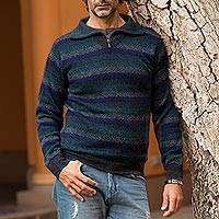Men's 100% alpaca sweater, 'Gale Force' - Men's Blue and Green Striped 100% Alpaca Pullover Sweater