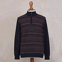 Men's 100% alpaca sweater, 'Intrigue' - Men's Multi-Color Striped 100% Alpaca Pullover Sweater