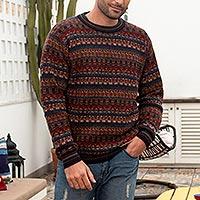 Men's 100% alpaca sweater, 'Complexity' - Men's Multi-Color Striped 100% Alpaca Pullover Sweater