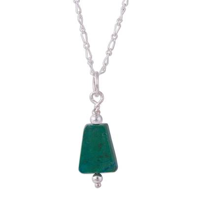 Natural Chrysocolla Pendant Necklace from Peru