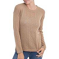 100% alpaca sweater, 'Desert Evening' - Tan Knit Alpaca Pullover Sweater from Peru