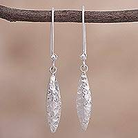 Sterling silver dangle earrings, 'Elegant Surf' - Textured Sterling Silver Dangle Earrings from Peru