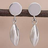Sterling silver dangle earrings, 'Bright Reflections' - High-Polish Sterling Silver Dangle Earrings from Peru