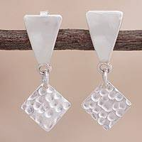 Sterling silver dangle earrings, 'Geometric Duo' - Square Sterling Silver Dangle Earrings from Peru