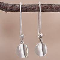 Sterling silver dangle earrings, 'Reflective Iris' - Circular Sterling Silver Dangle Earrings from Peru